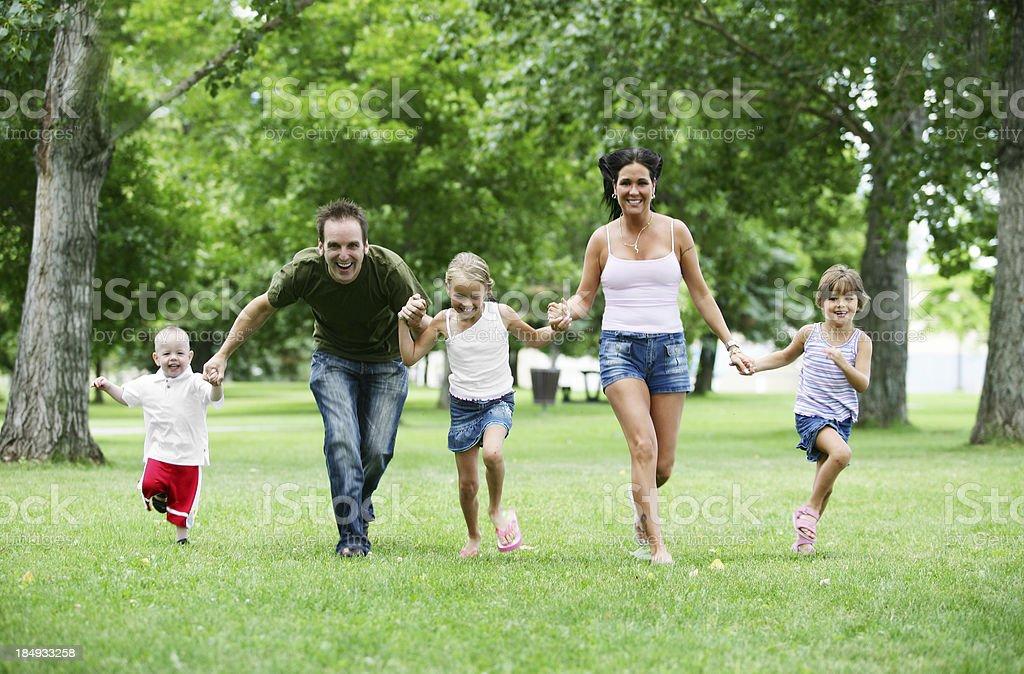 Family running royalty-free stock photo