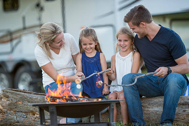 family rv camping trip - motorhome stock photos and pictures