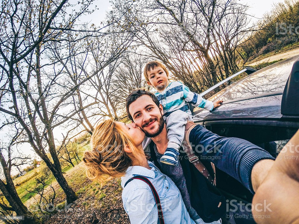 Family selfie in the nature stock photo