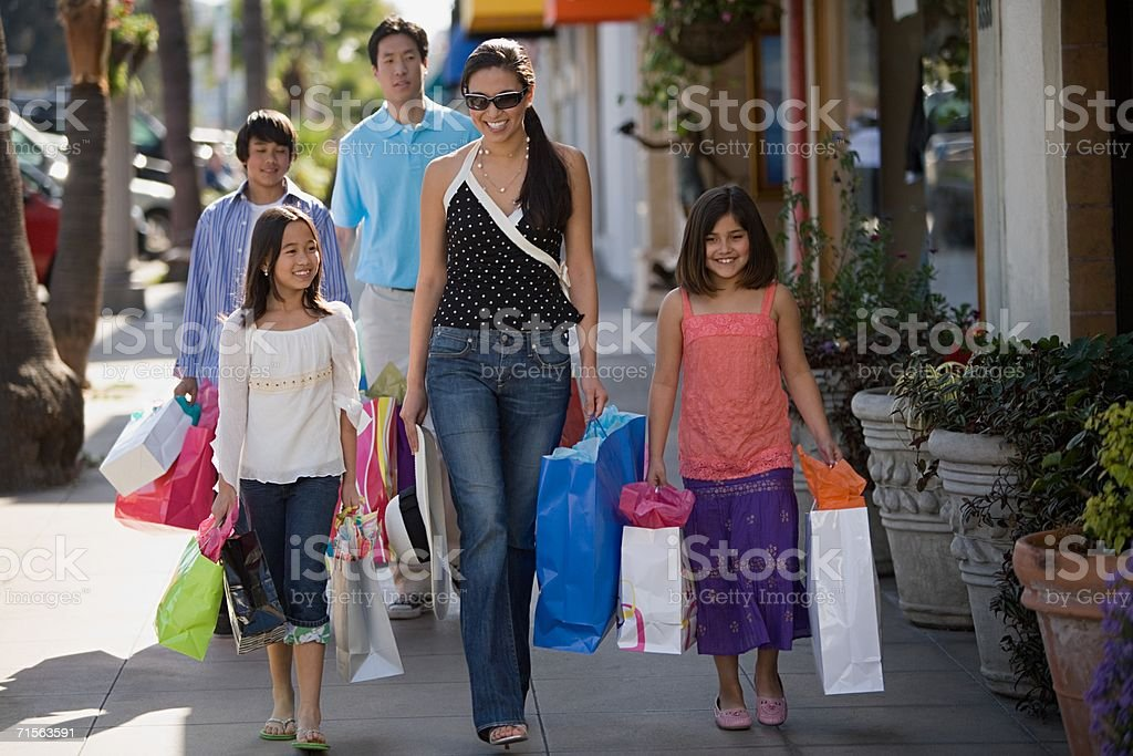 Family shopping trip stock photo