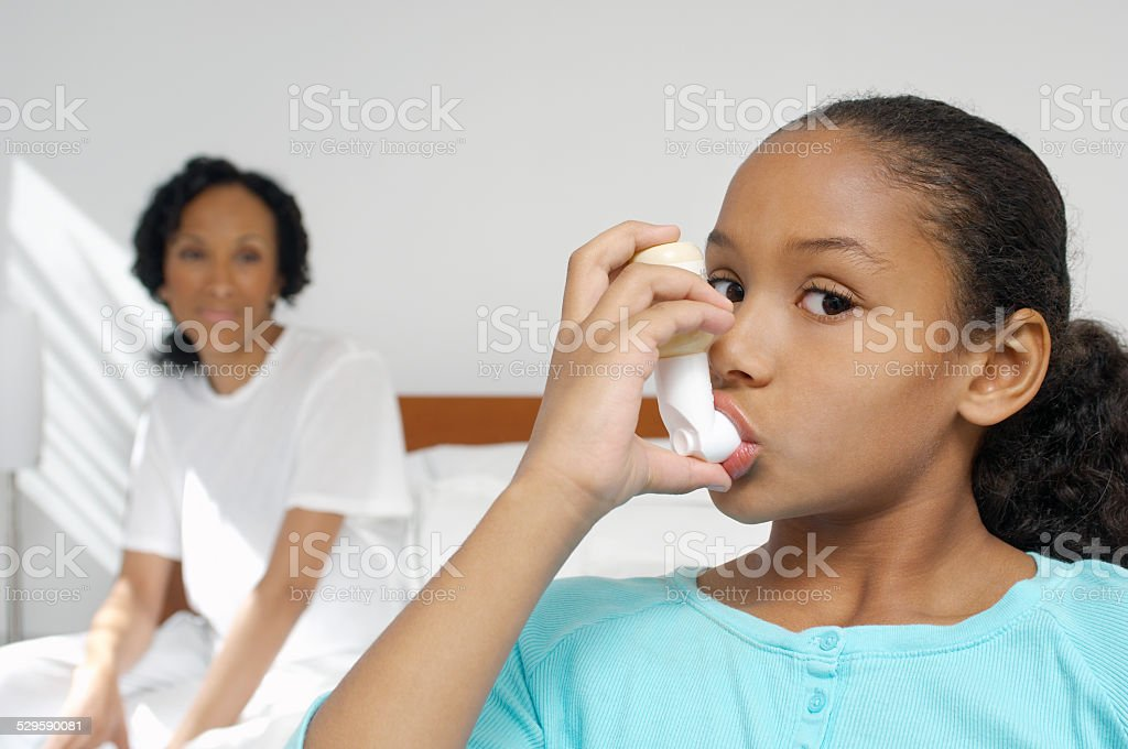 Family sick at home stock photo