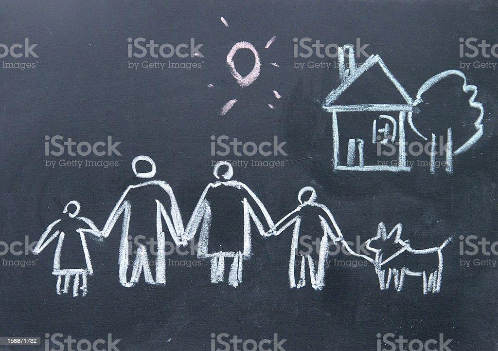 Familie-Zeichen mit Kreide auf die Tafel gezeichnet – Foto