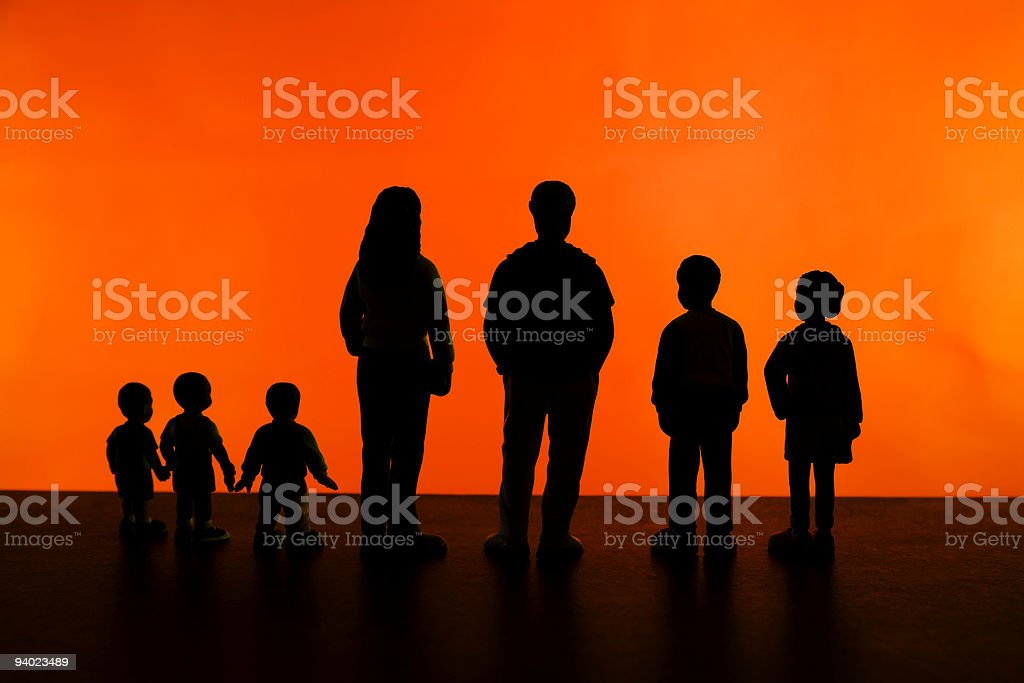 Family silhouette of seven royalty-free stock photo