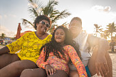 Family, Sitting, Sand, Beach, Summer