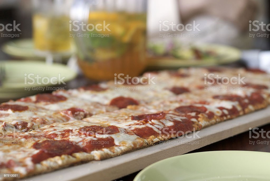 Family Size Multi-grain Organic Pepperoni Pizza royalty-free stock photo