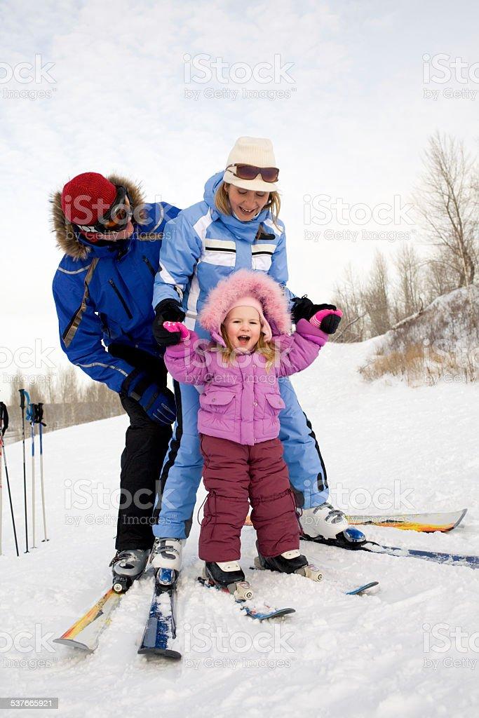 Skifahren für Familien Lizenzfreies stock-foto