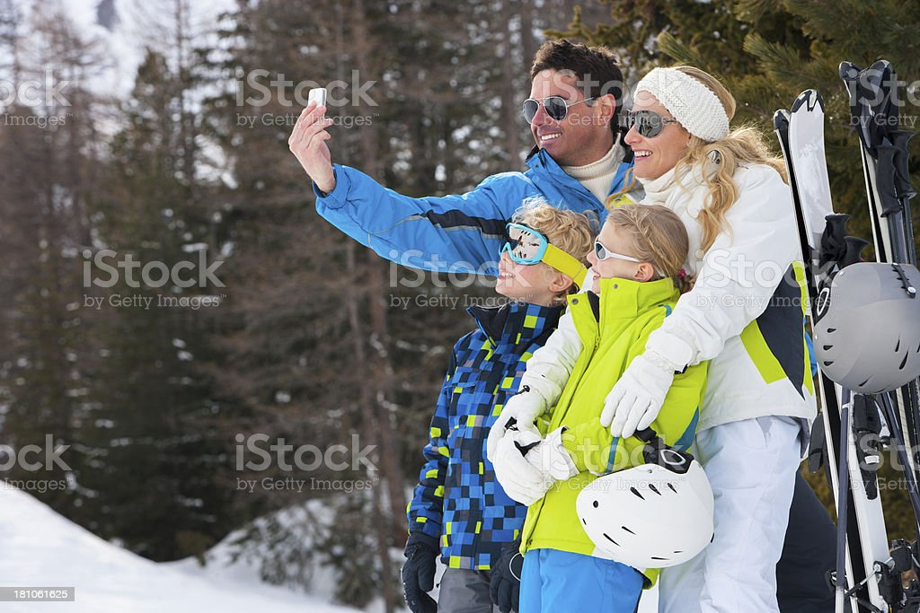 Family Skiing Selfie royalty-free stock photo