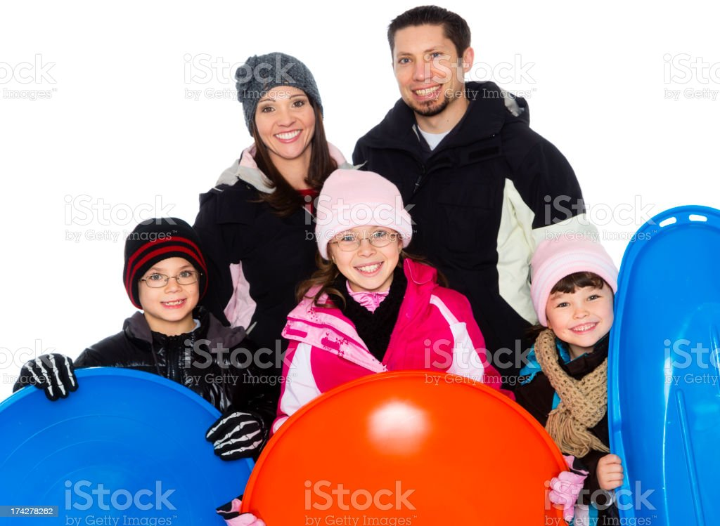 Family Sledding royalty-free stock photo