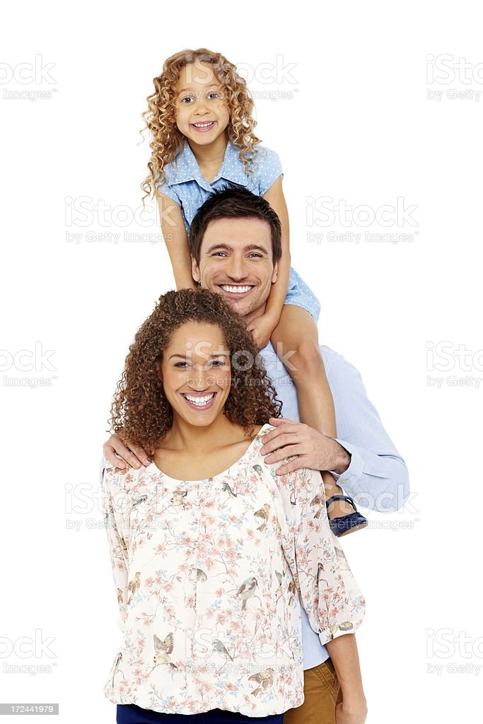 Family smiling together on white royalty-free stock photo