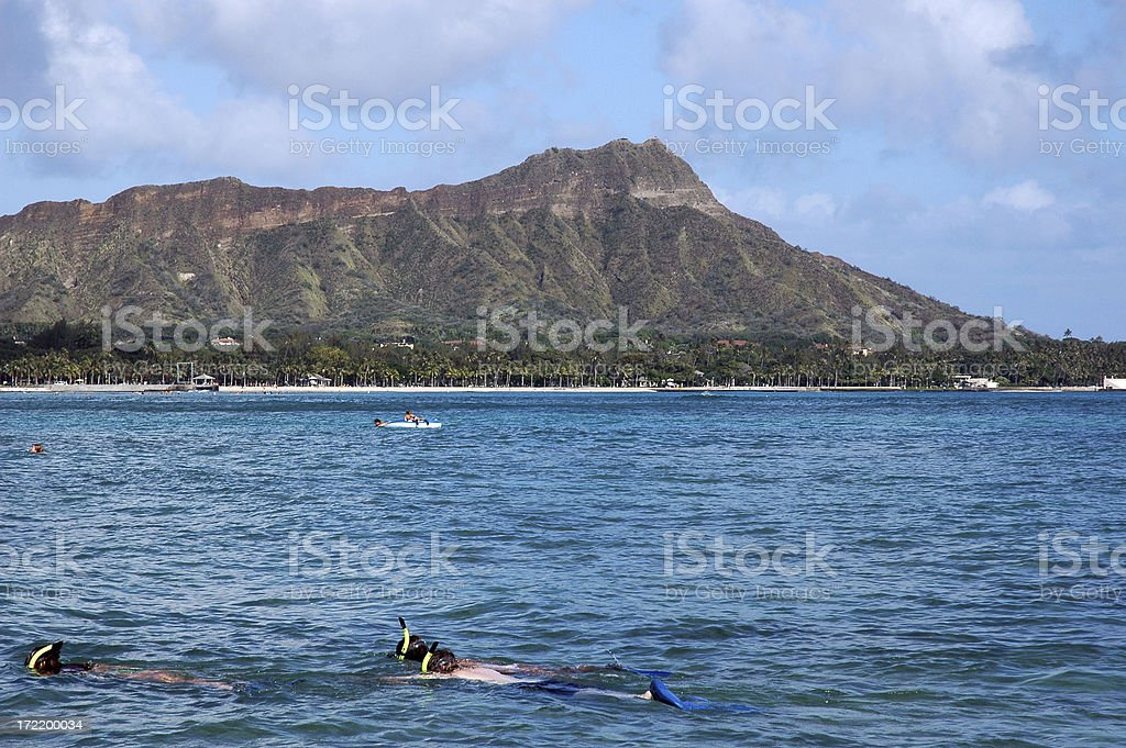 Family Snorkeling @ Diamond Head royalty-free stock photo