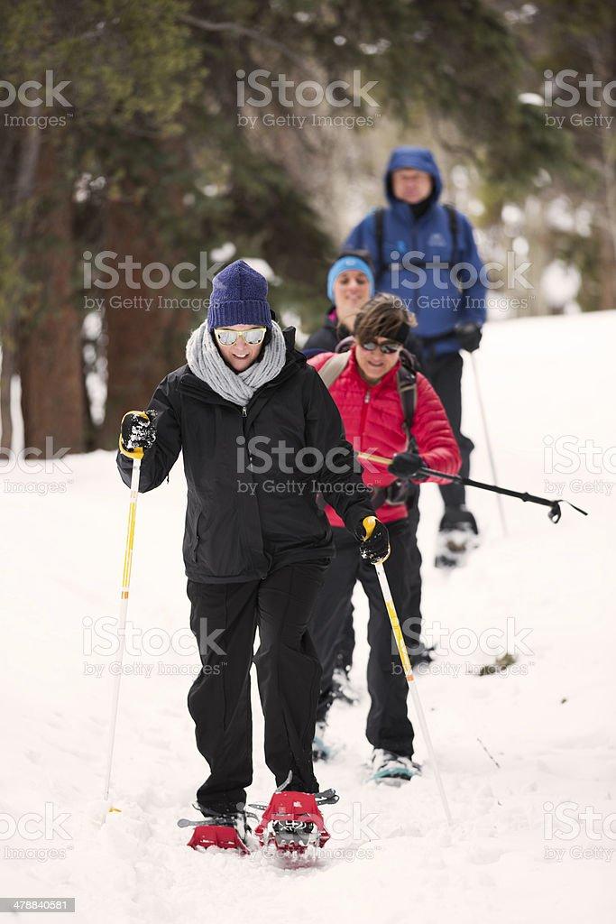 Family Snow Shoeing stock photo