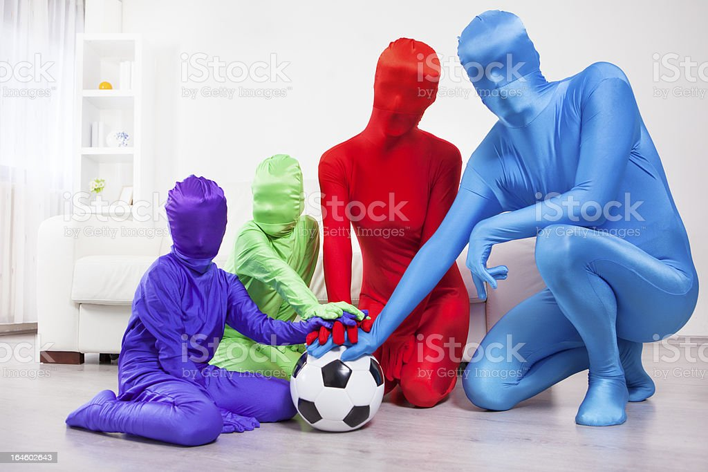 Family Soccer Fans. stock photo