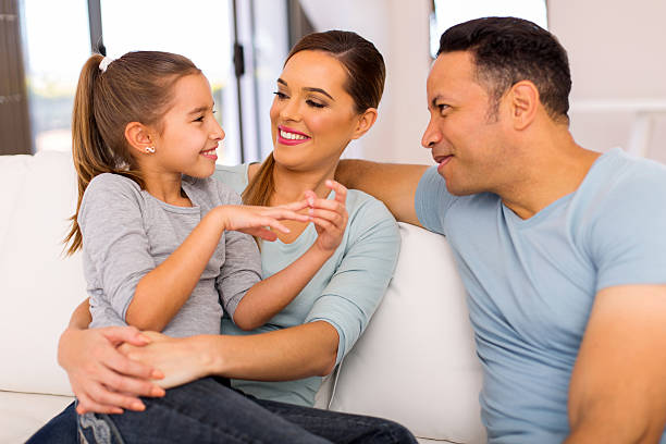 family spend quality time together stock photo