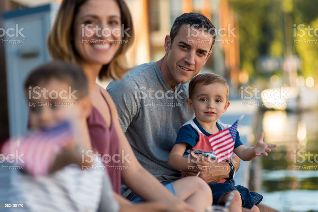 Family Spending Day Outdoors Together stock photo