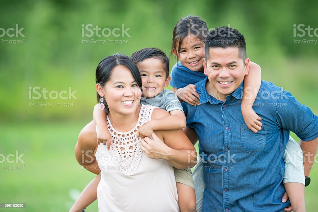 Family Spending Time at the Park stock photo