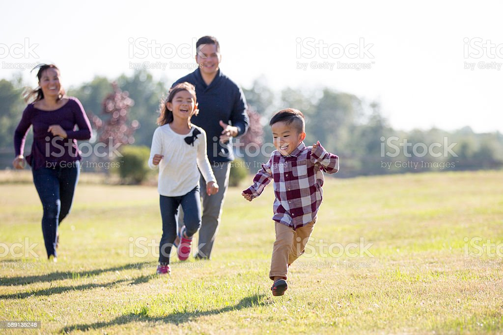 Family Spending Time Outdoors stock photo