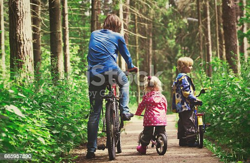 istock family sport - father and kids riding bikes in nature 665957890