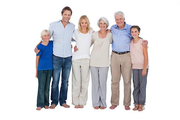 Familia pie contra un fondo blanco. - foto de stock
