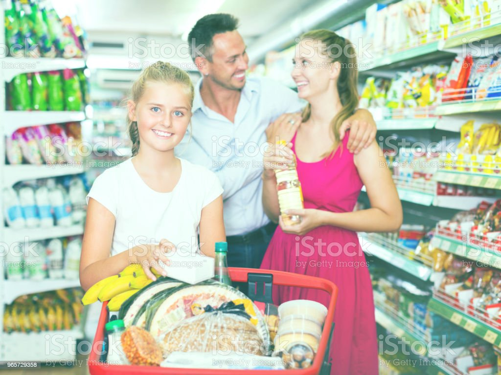 Family standing with purchases - Royalty-free Adult Stock Photo