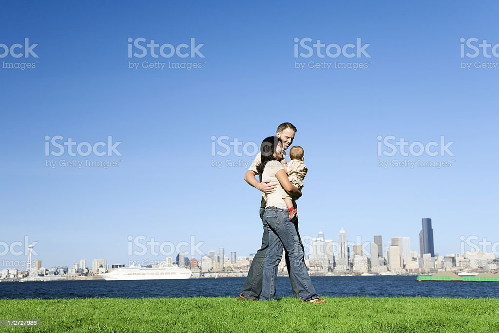Family Stroll in Seatte royalty-free stock photo