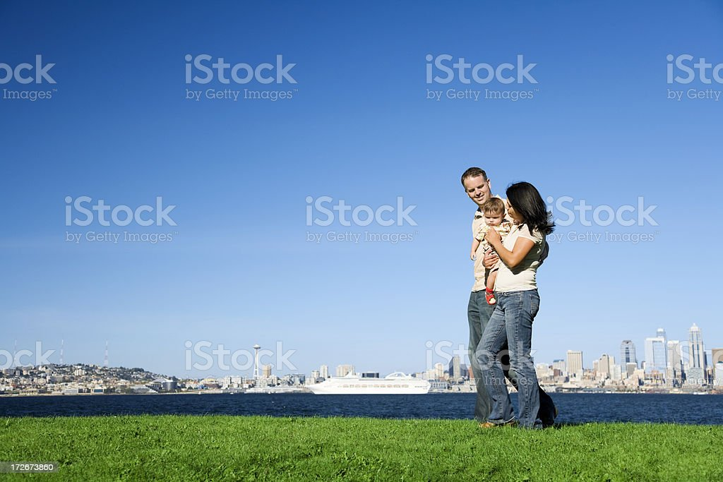 Family Strolling in Seattle royalty-free stock photo