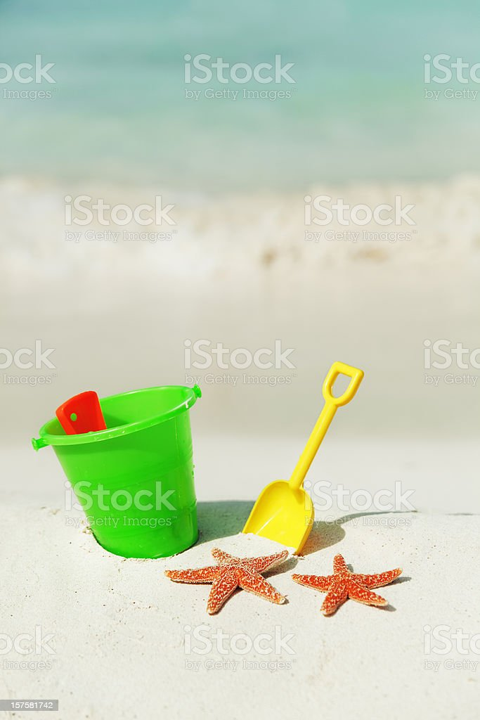 Family Summer Holiday Toys on the Beach royalty-free stock photo