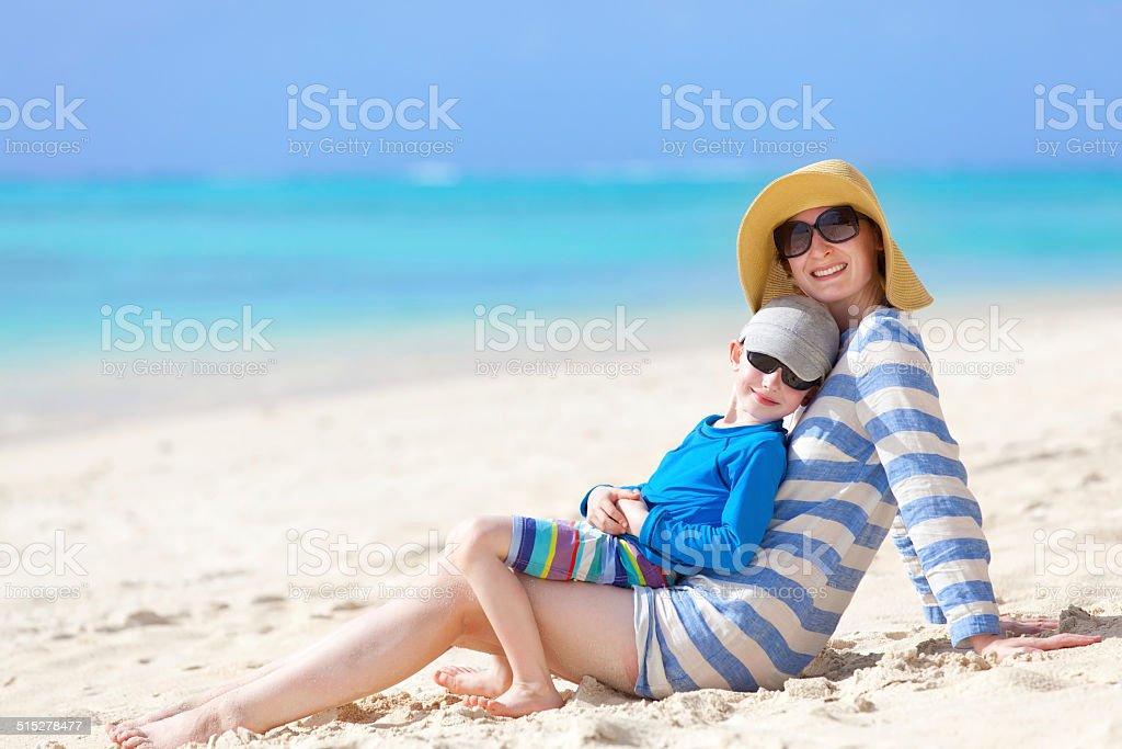 family summer vacation stock photo