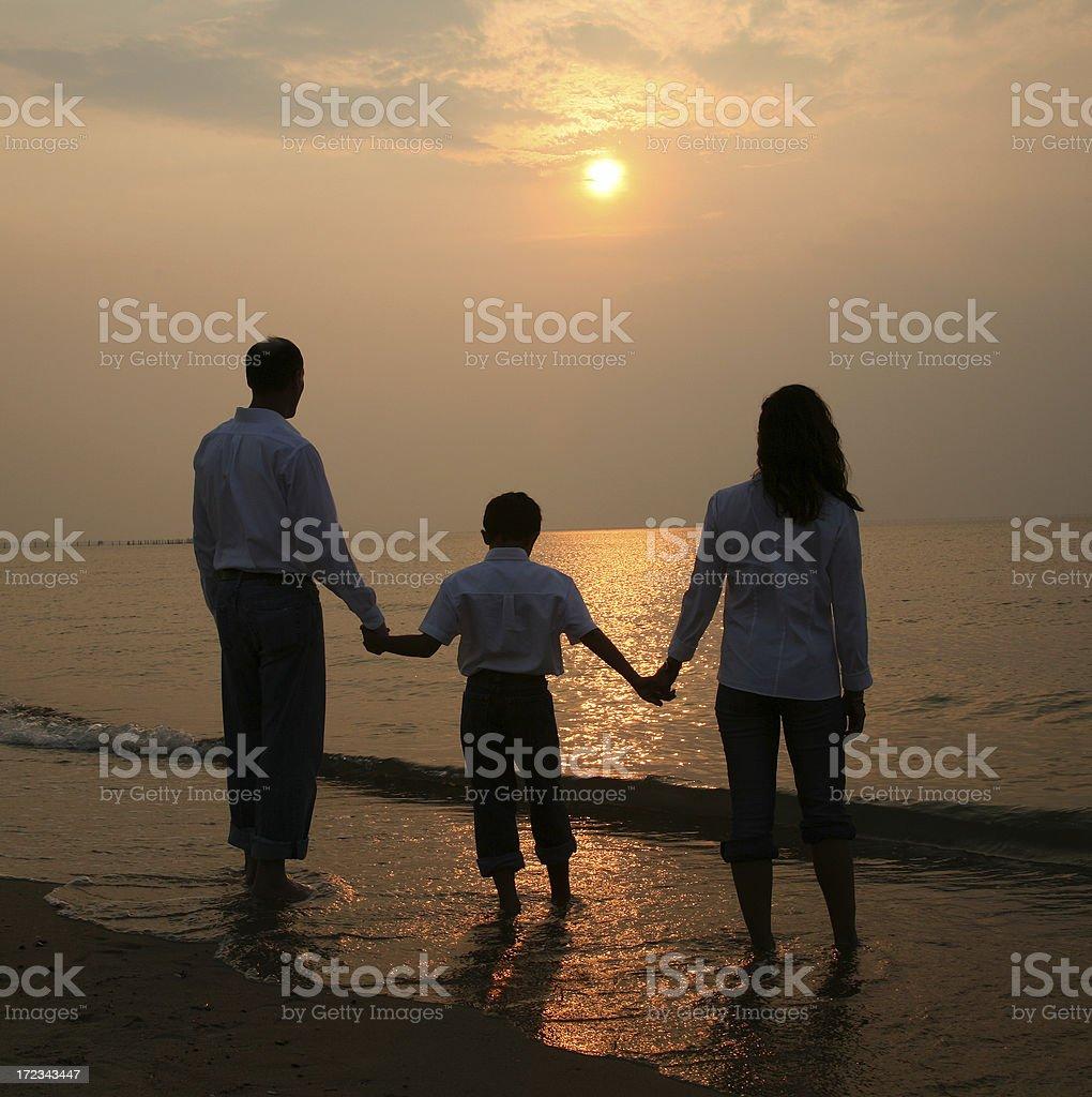family sunset royalty-free stock photo