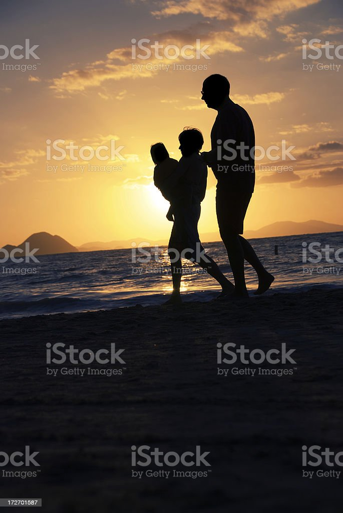 Family Sunset Silhouette royalty-free stock photo