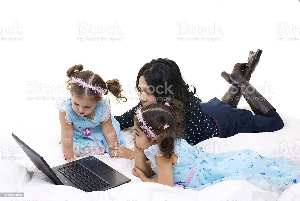 Family surfing royalty-free stock photo