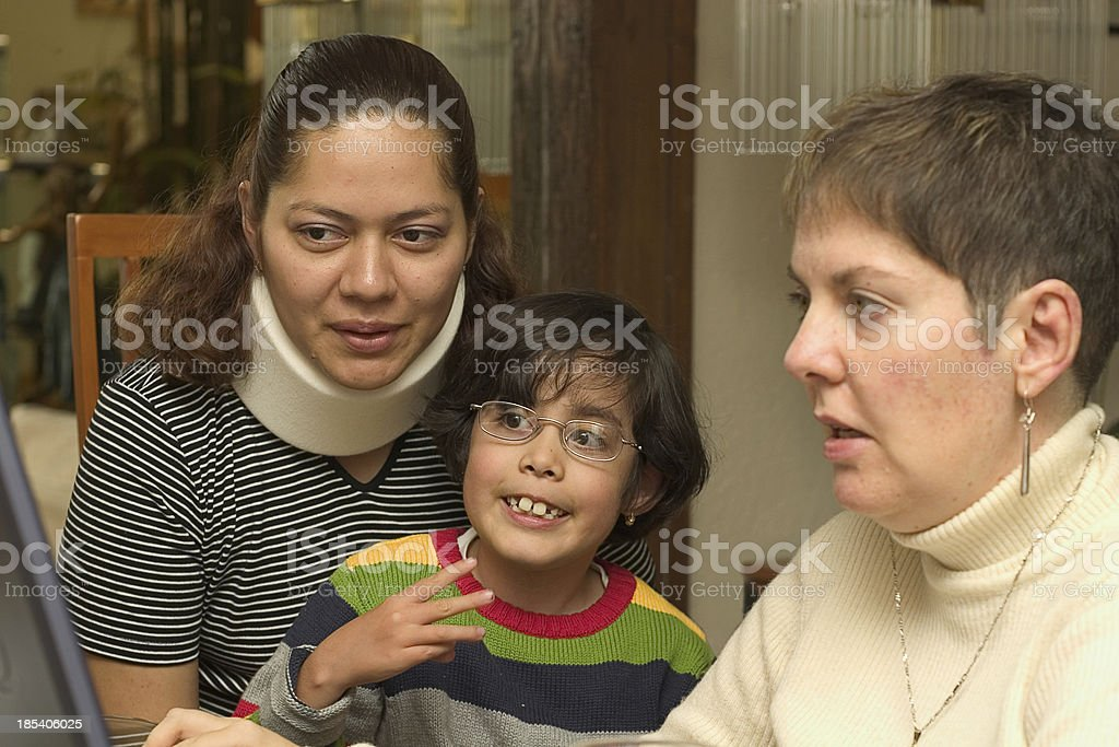 family surfing the web stock photo