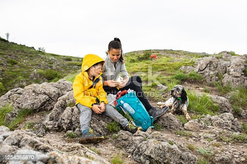 A young boy and his mom are resting in the mountains and looking for refreshment in their backpack while their dog is lying next to them