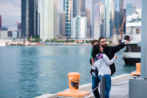 Family taking a selfie at Navy Pier in Chicago