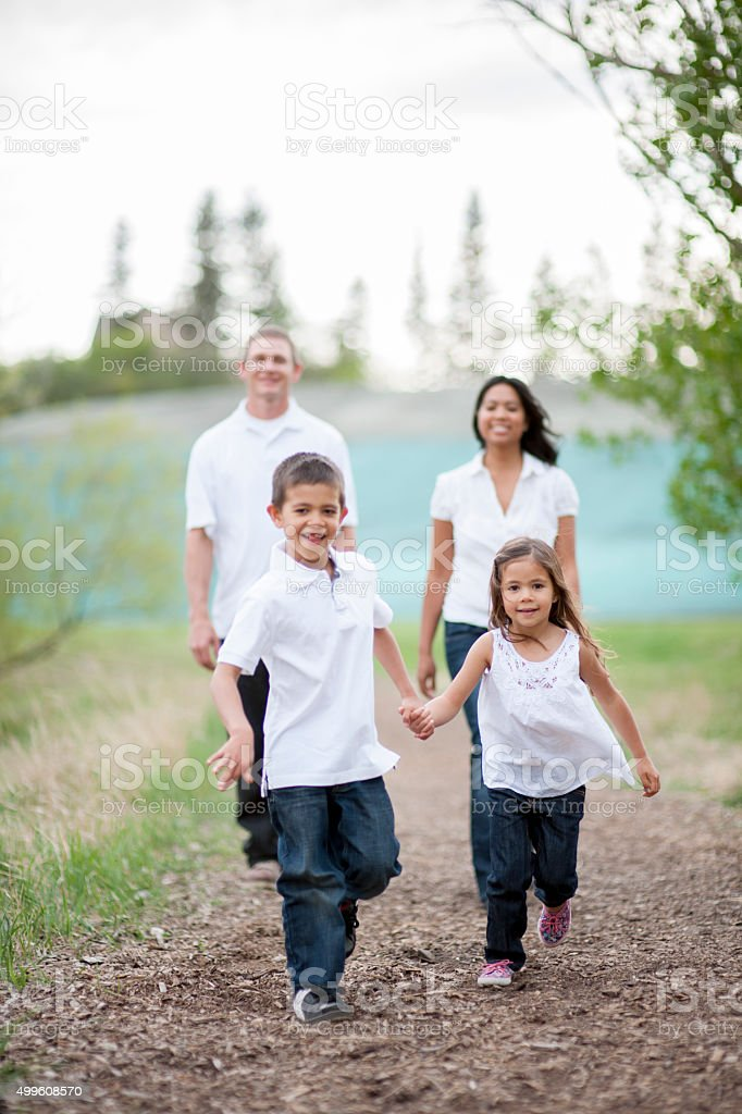 A multi-ethnic family is walking together through the park. The...