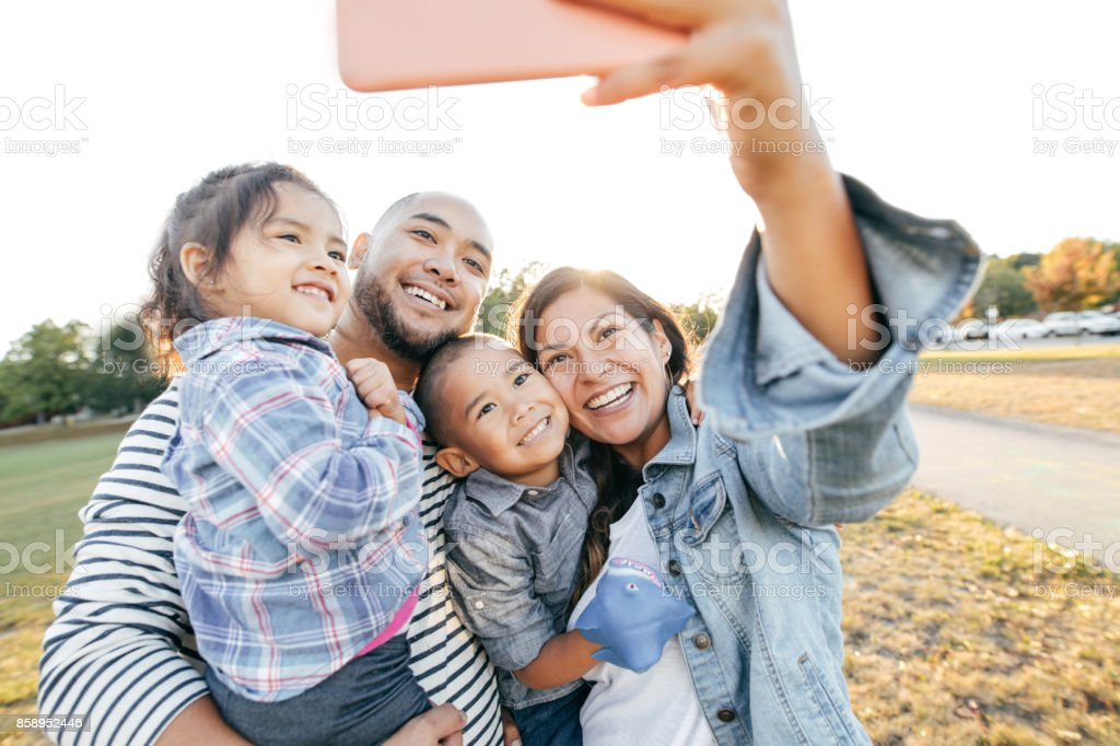 Family taking selfie stock photo