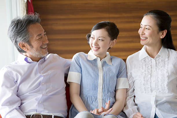 Family talking with smile stock photo