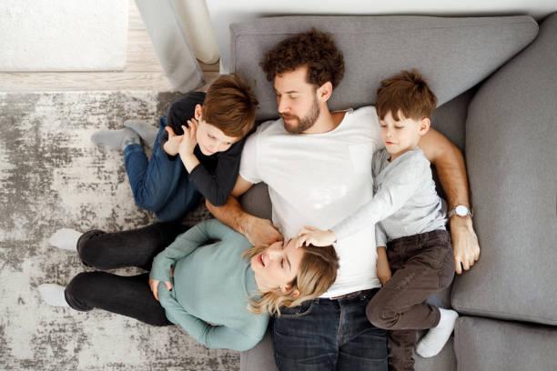Family talks stock photo