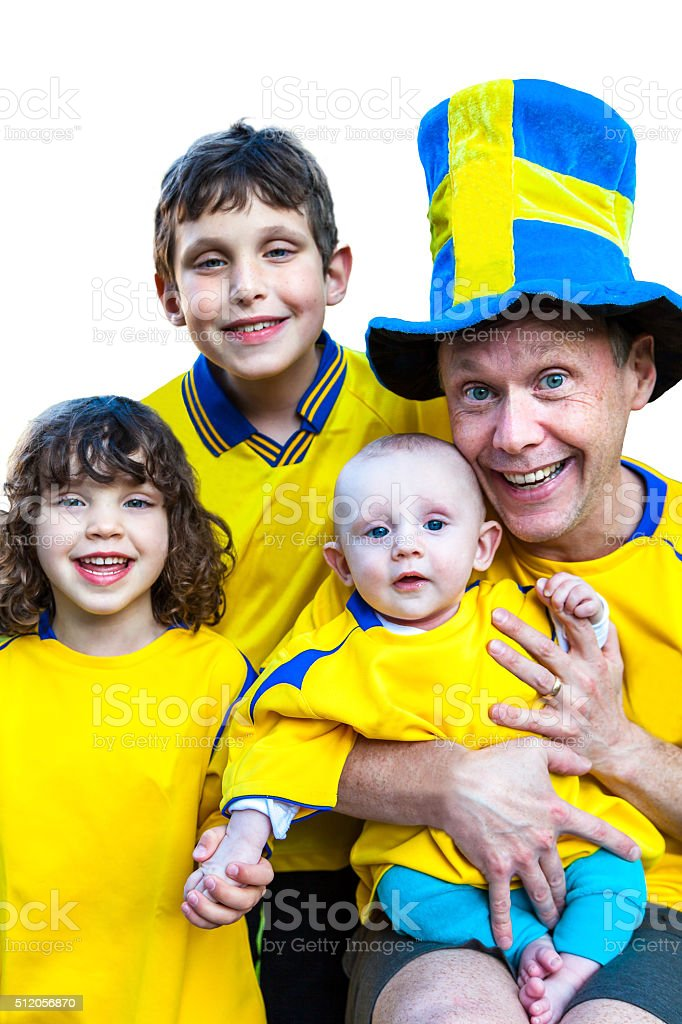 Family team portrait with team shirts. royalty-free stock photo