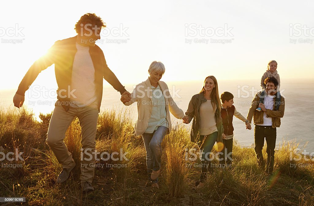 Family teamwork stock photo