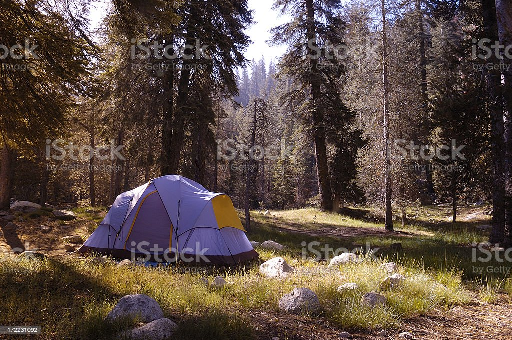 Family tent in the wilderness royalty-free stock photo