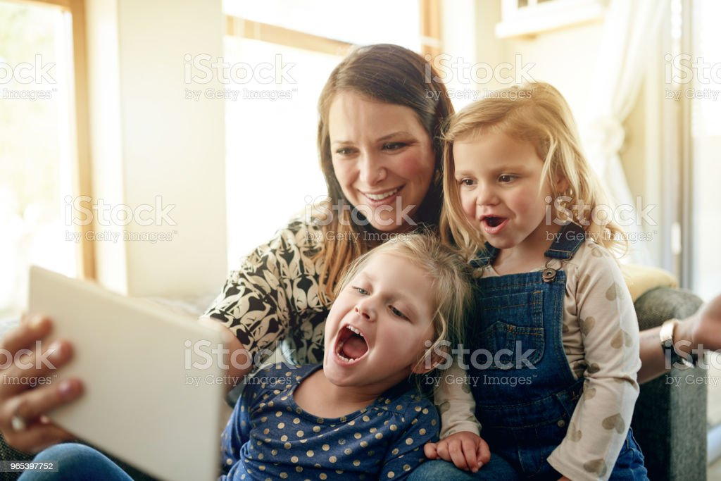 Family time is selfie time royalty-free stock photo