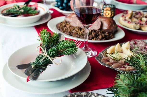 family together christmas celebration concept. - pranzo di natale foto e immagini stock
