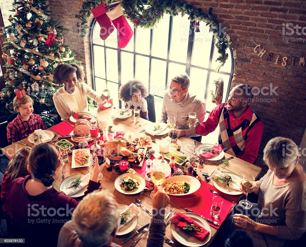 Family Together Christmas Celebration Concept - foto de acervo