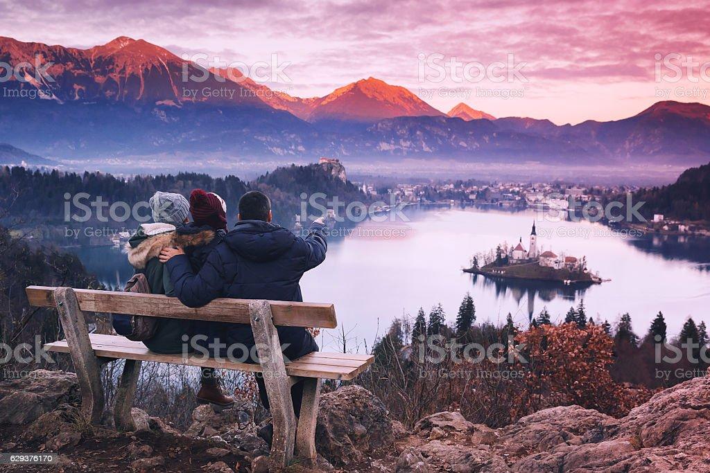 Family travel Europe. Bled Lake, Slovenia. stock photo