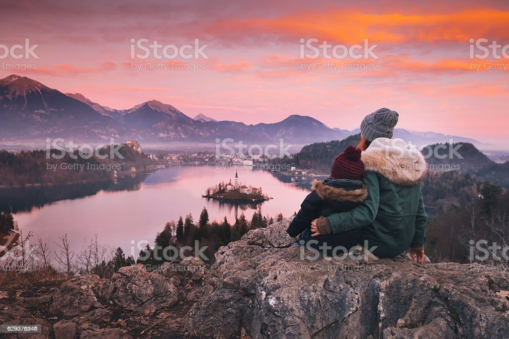 Family travel Europe. Bled Lake, Slovenia. stock photo