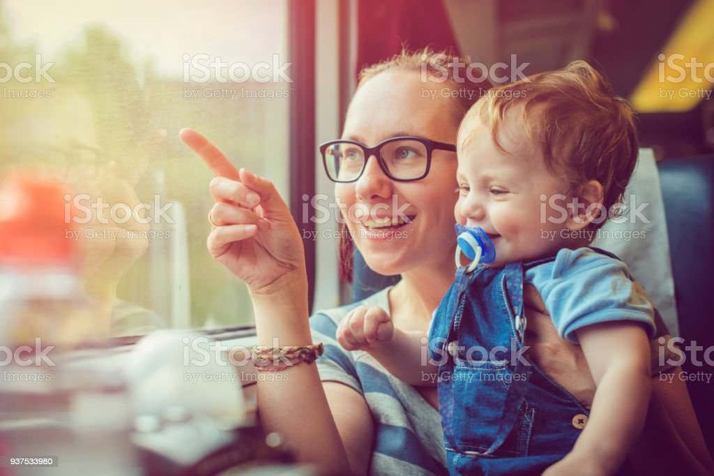 Family traveling by train stock photo