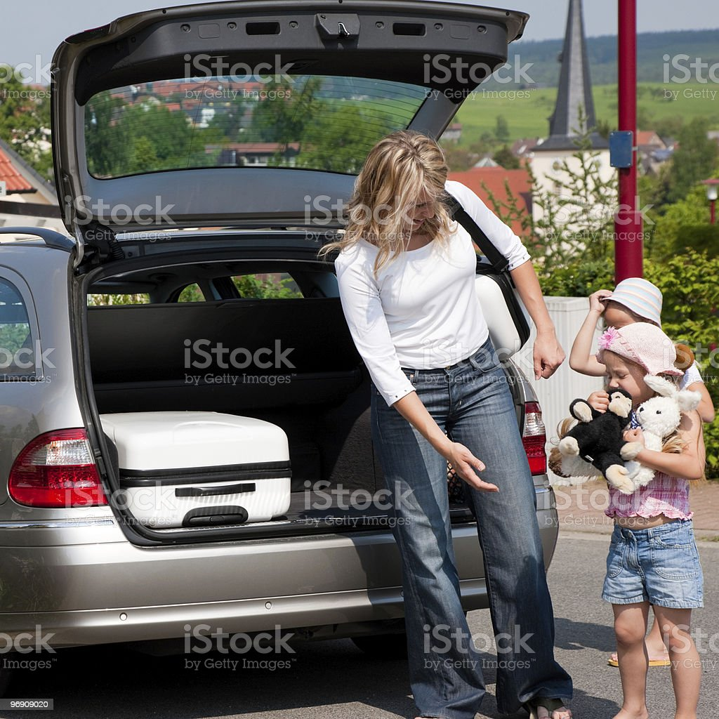 Family travelling by car returning from vacation royalty-free stock photo