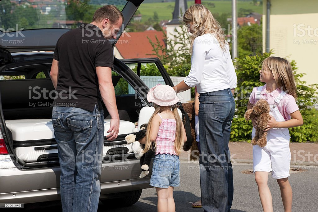 Family travelling by car to their vacation royalty-free stock photo