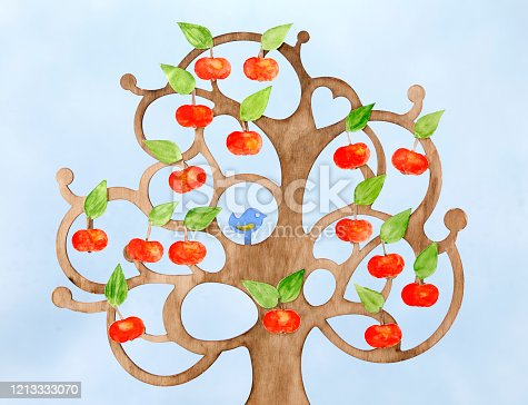 Handmade family tree with apples