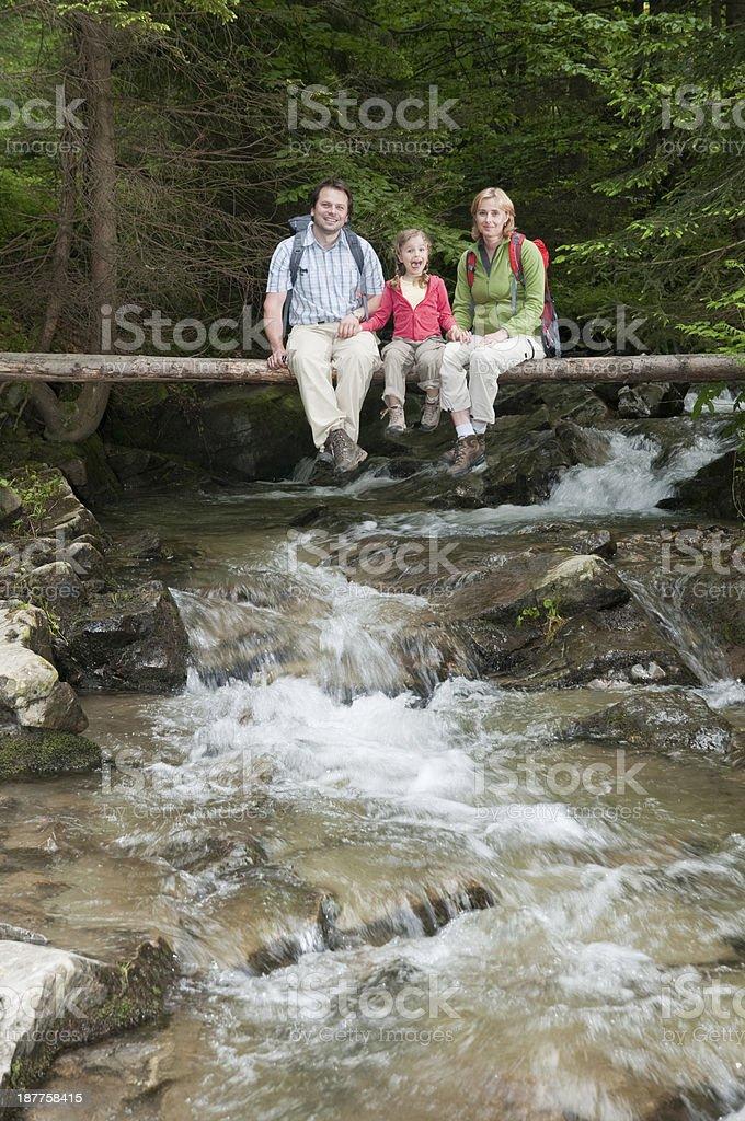Family trekking royalty-free stock photo